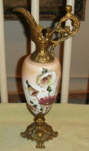 Antique Victorian Ewer Urn Painted Flowers Cherub Handle Brass Metal Lqqk