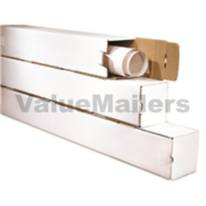 50 3x3x37 White Box Corrugated Square Mailing Tube Shipping Storage Poster Tubes