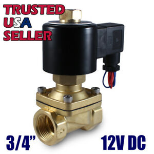3 4 12v Dc Normally Open Electric Brass Solenoid Valve 12 Volts Dc N o Water