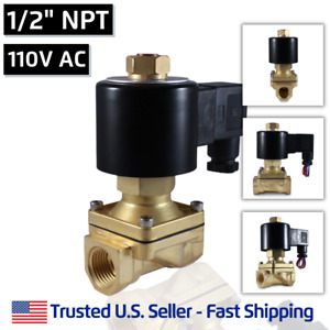 1 2 110v Ac Normally Open Electric Brass Solenoid Valve 110 120 Volts Vac N o