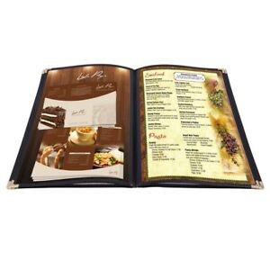 20 Pack 8 5 x14 4 Page 8 View Menu Covers Black Trim Legal Size Restaurant Cafe