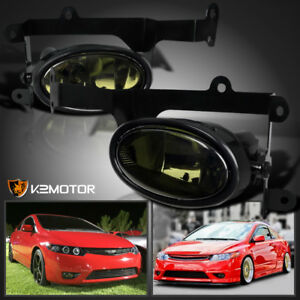 For 2006 2008 Honda Civic 2dr Coupe Smoke Lens Bumper Driving Fog Lights Switch