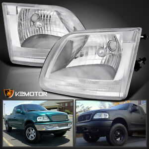Fits 1997 2003 Ford F150 Expedition Pickup Crystal Clear Headlights Head Lamps