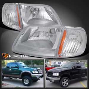 97 03 Ford F150 Expedition Crystal Headlights Corner Signal Lamps Left Right
