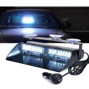 Xprite 16 Led White Strobe Light Bar With Suction Cup Emergency Warning 12v Jeep