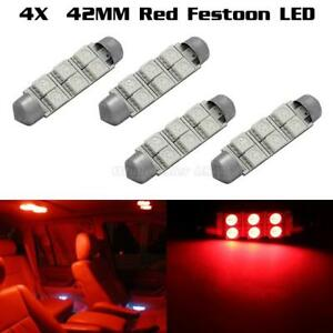 4 X Car Dome 5050 Smd Led Bulb Light Interior Festoon Led 42mm Red