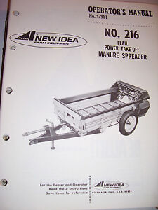 Orig New Idea Operator s Manual 216 Flail Power Take off Manure Spreader