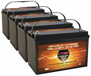 Qty4 Slr125 Solar Wind Deep Cycle Agm Hi Capacity Maint Free Vmax Solar Battery
