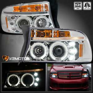 97 04 Dakota 1998 2003 Dodge Durango Led Halo Projector Headlights Pair