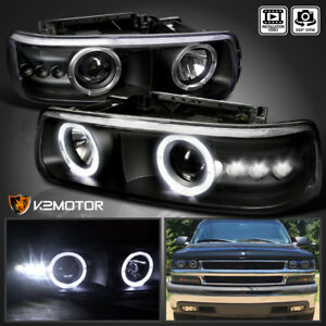 99 06 Silverado Tahoe Suburban Black Smd Led Halo Projector Headlights