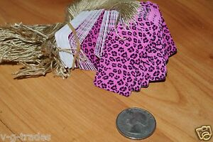Lot 100 Pink Leopard Print 1 X 1 5 8 Merchandise Price Tags String Strung