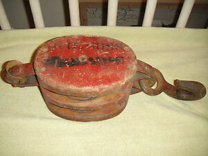 Antique Nautical Ship Block Wood Pulley Western Lock Co 13 8lbs Nautical Decor