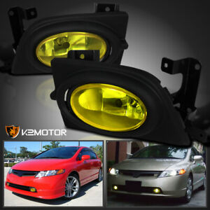For 2006 2008 Honda Civic 4dr Yellow Driving Fog Lights Lamps Switch Kit