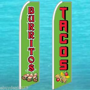 1 Burritos 1 Tacos Flutter Feather Flag Advertising Sign Swooper Bow Banner