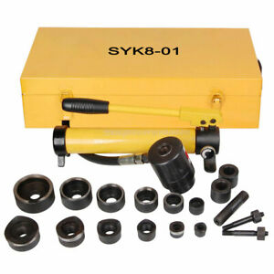 10 Ton 6 Die Hydraulic Knockout Punch Driver Kit Hole Hand Tool Conduit 1 2 To 2