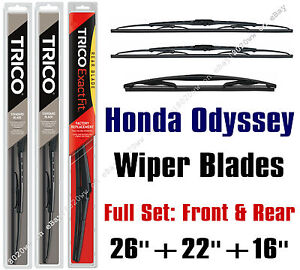 Honda Odyssey 2005 Wiper Blades 3 pack Front Rear Wipers 30260 221 16b