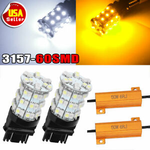 2x 3157 60smd Dual Color Switchback White Amber Led Turn Signal Lights Resistors