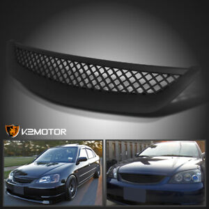 For 2001 2003 Honda Civic Jdm Black T R Front Hood Mesh Grill Grille