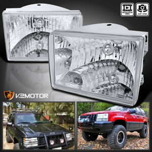 93 98 Jeep Grand Cherokee Chrome clear Diamond Headlights Left right