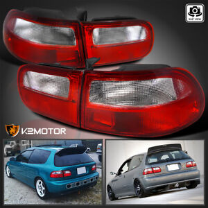 For 92 95 Honda Civic Hatchback 3dr Brake Lamps Red Clear Tail Lights Left Right