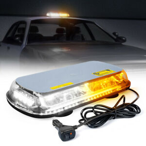 Xprite 17inch 44 Led Strobe Light Bar Amber White Rooftop Magnetic Flash Warning