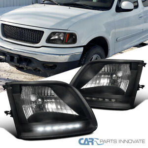 For 97 02 Ford F150 Expedition Matte Black Led Drl Headlights Driving Head Lamps