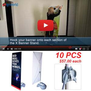 Outdoor Adjustable X Banner Stand W Water Base Trade Show Display Banner 10 Pcs