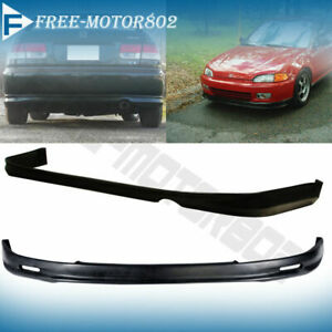 For 92 95 Honda Civic Eg 2 Dr Coupe Mugen Front Rear Bumper Lip Spoiler Pu