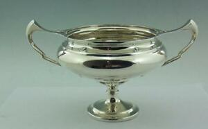 Art Nouveau English Solid Silver Twin Handled Pedestal Bowl