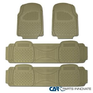 4pcs Car Truck Suv Van Custom Beige Pvc Rubber Floor Mats Carpet Front