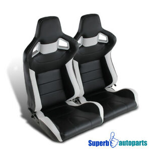 1 Pair Jdm Style Leather Speed Racing Seats W Sliders Black White