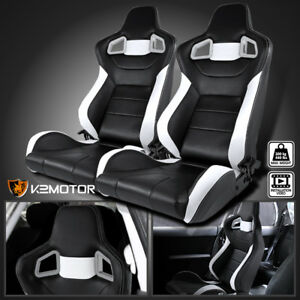 left right Black White Pvc Leather Reclinable Bucket Racing Seats silders