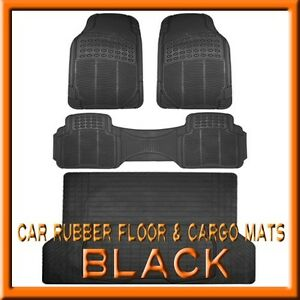 Fits 3pc Ford Bronco Black Rubber Floor Mats 1pc Cargo Trunk Liner Mat