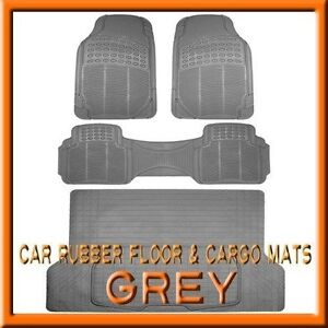 Fits 3pc Toyota Highlander Grey Rubber Floor Mats 1pc Cargo Trunk Liner Mat