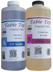 Epoxy Table Top Resin 2 Quart Kit Crystal Clear Includes Part A