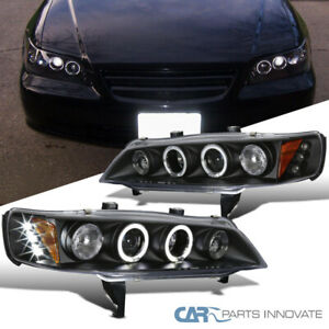 Fit Honda 94 97 Accord 2 4dr Black Led Halo Projector Headlights Head Lamps Pair