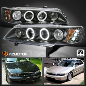 For 1994 1997 Honda Accord Led Halo Projector Headlight Black