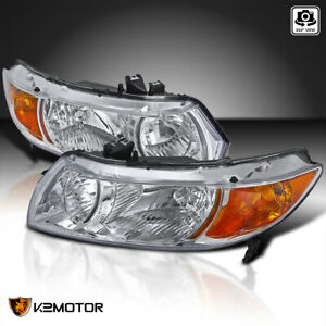 For 2006 2011 Honda Civic 2dr Coupe Clear Headlights Lamps Pair Left Right 06 11