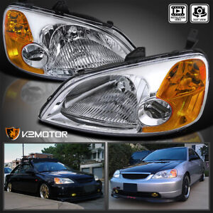 For 2001 2003 Honda Civic Clear Headlights Corner Lamps Pair Left Right 01 02 03