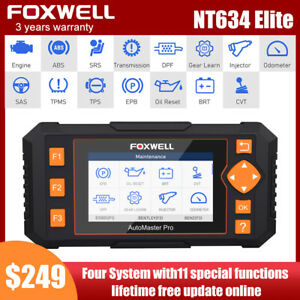 Car Diagnostic Tool Obd2 Scanner Abs Srs Sas Tpms Dpf Oil Reset Foxwell Nt634