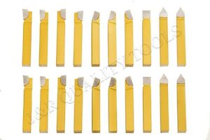 20pc 3 8 Carbide Tip Tipped Cutter Tool Bit Cutting Set For Metal Lathe Tooling