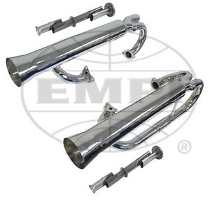Empi 3709 Vw Chrome Dual Racing Exhaust System W Inserts Baja Buggy