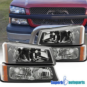 For 2003 2006 Chevy Silverado 1500 2500 3500 Headlights bumper Signal Lamp Black
