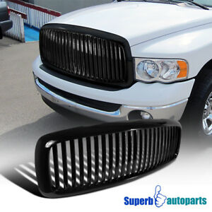 2002 2005 Dodge Ram 1500 2500 3500 Abs Vertical Front Hood Grille Black