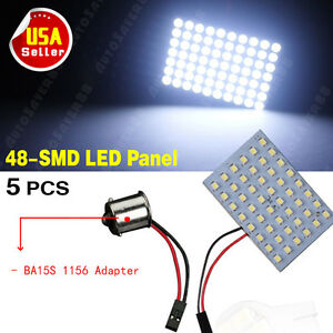 5x Cool White Car Rv Trailer 1156 Ba15s Adapter 48 Smd Map Dome Panel Led Light