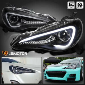 For 2012 2017 Scion Fr s Toyota 86 Black Projector Headlights led signal Bar