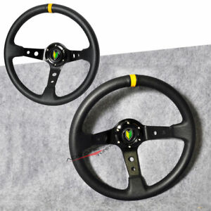 Universal 350mm Black Pvc Leather Yellow Deep Dish Steering Wheel Horn Button