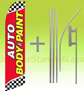 Auto Body Paint Swooper Flag Kit Feather Flutter Banner Sign 15 Checkered Rb