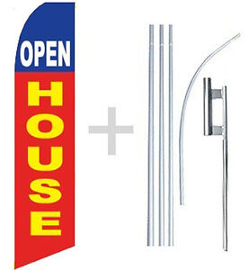Open House Swooper Flag Kit Feather Flutter Banner Sign 15 Tall Rb