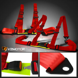 Pair Jdm X2 4 Point Red Seat Belts Racing Safety Harness Buckle 4pt Left Right